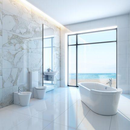 Имитация мрамора в интерьере ванной
