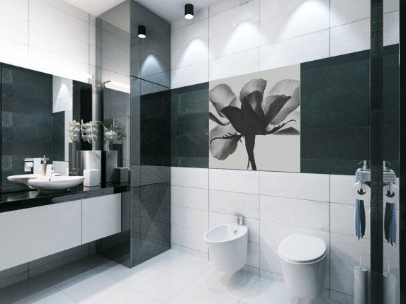 Дизайн чёрно-белой ванной комнаты