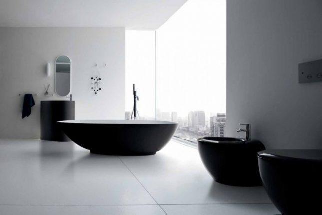 Дизайн чёрно-белой ванной команты