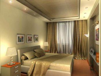 Спальня в теплых тонах