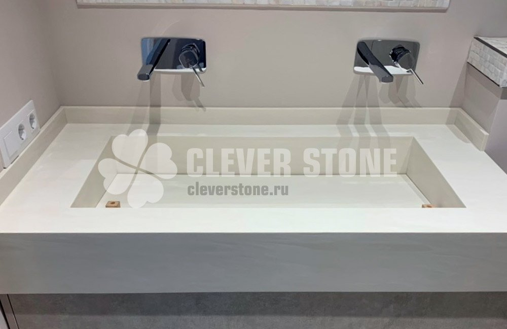 Белые столешницы из искусственного камня от Clever Stone